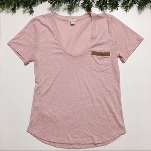 J. Crew Factory - Pink Tee with Gold Pocket